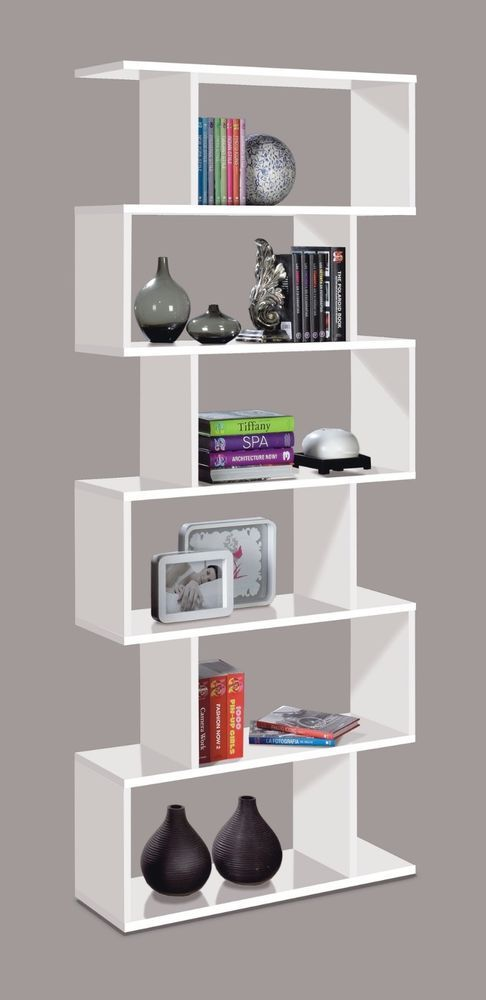 Modern bookcase black or white zig zag room divider for Room divider storage