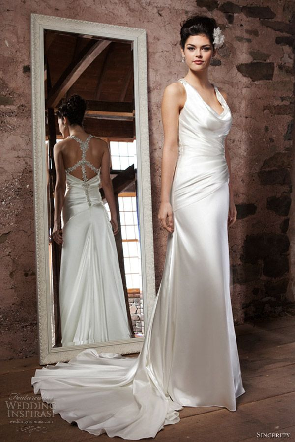 Love the back, hate the cowel neck. sincerity bridal wedding dresses 2013 cowl draped charmeuse tank top