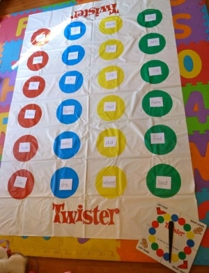 twister spelling words...or sight words...or vocab words..or math facts...workshop..oh gosh the possibilities are endless!