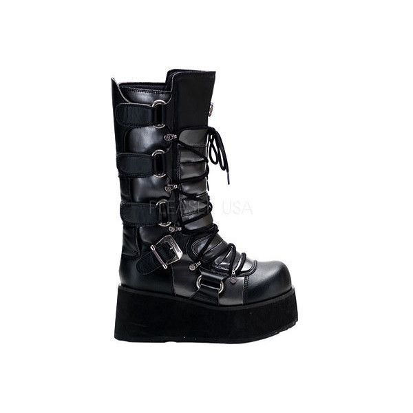Men's Demonia Trashville 519 - Black/Grey PU Casual ($80) ❤ liked on Polyvore featuring men's fashion, men's shoes, shoes, casual, casual shoes, mens platform shoes, mens gray dress shoes, mens black shoes, mens lace up shoes and mens grey shoes
