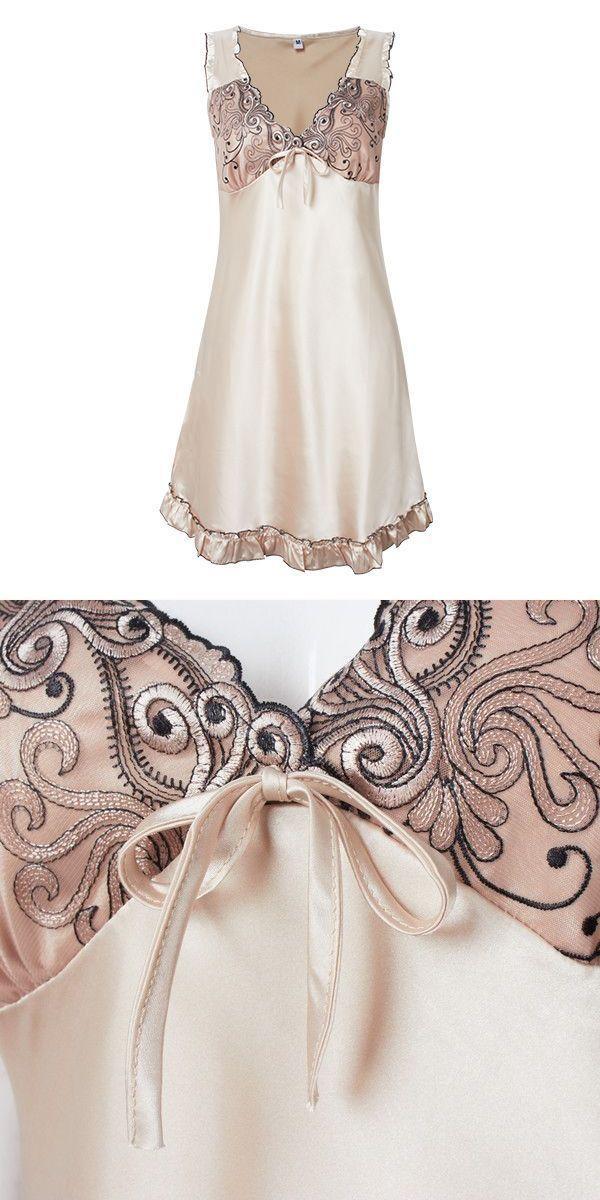 Walmart sleepwear and robes women silk-like sexy v neck sleeveless ruffles nightdress sleepwear loungewear #mens #sleepwear #and #robes #turkish #fashion #sleepwear #walmart #sleepwear #and #robes
