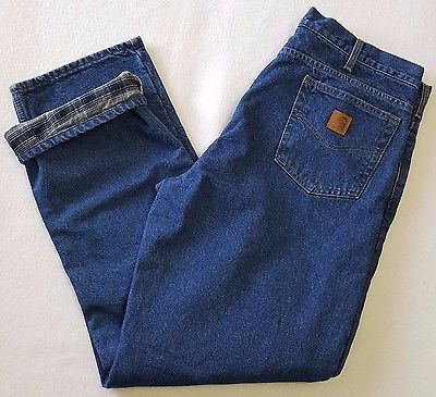 NWT Carhartt Relaxed Fit Flannel Lined Jeans Mens 38 x 34 Straight Leg B172DST