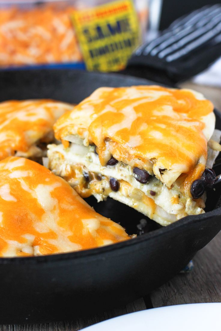 Cheesy Salsa Verde Chicken Tortilla Pie - simply-prepared chicken is mixed with salsa verde and vegetables and stacked between tortillas and a three-cheese blend for a flavorful 30-minute meal! mysequinedlife.com #ad #NaturallyCheesy