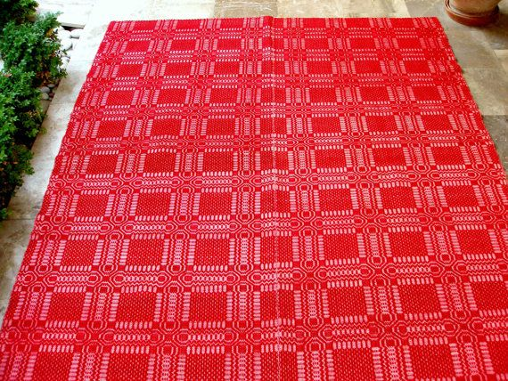 Vintage Mid Century Handwoven Red White Wool Cotton Bedspread or Tablecloth. You Decide!!!  by VintageHomeStories