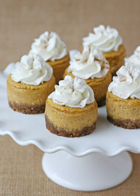 Mini Pumpkin Cheesecake - Super easy, delicious thanksgiving treat! I replaced the crust with a ginger snap cookie and used less sugar and more spice then what was listed (to your taste preference)