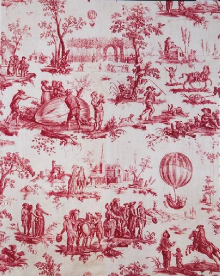 Red and white toile