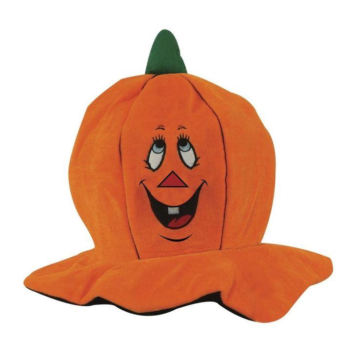 Halloween Pumpkin Hat Plush Jack-O-Lantern Adult Funny Party Costume Festive Hat #HalloweenPumpkinHat #Halloween