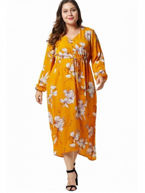 e28709d3d868 Flower Print Plus Size Swing Midi Dress - BEE YELLOW 3X