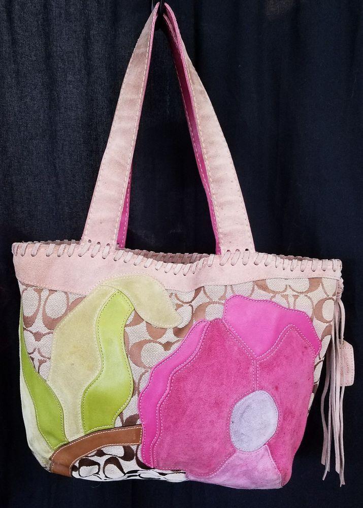 COACH Special Edition 2004 POPPY for PEACE Multicolor Suede Leather Hobo Handbag #Coach #Hobo