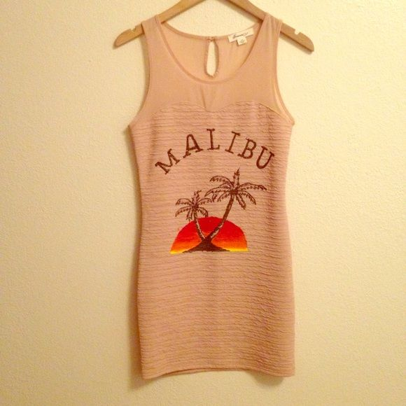 Malibu rum dress- perfect for Halloween! Malibu rum body on dress- worn once, like new! This is a diy dress, the graphic is designed with clothing paint. Dresses