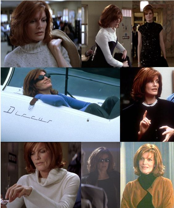 Rene Russo - Thomas Crown Affair: hair,  wardrobe, everything - if you watch the movie carefully, you see she has a set palette of colors - spice browns, caramel tones, ivory, & black, plus a few accent colors - and clean shapes with no fussy details, everything in scale.  Pulled together elegance but easy not stiff.
