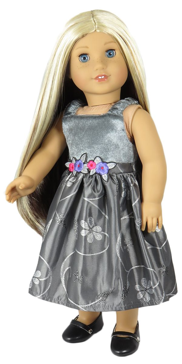 American Girl Doll Clothes - Silly Monkey - Grey Party Dress, $14.00 (http://www.silly-monkey.com/products/grey-party-dress.html)