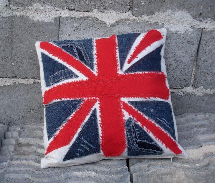 almohadas, las aplicaciones, los pantalones vaqueros de alteración, creativo, patchwork, union jack, unión