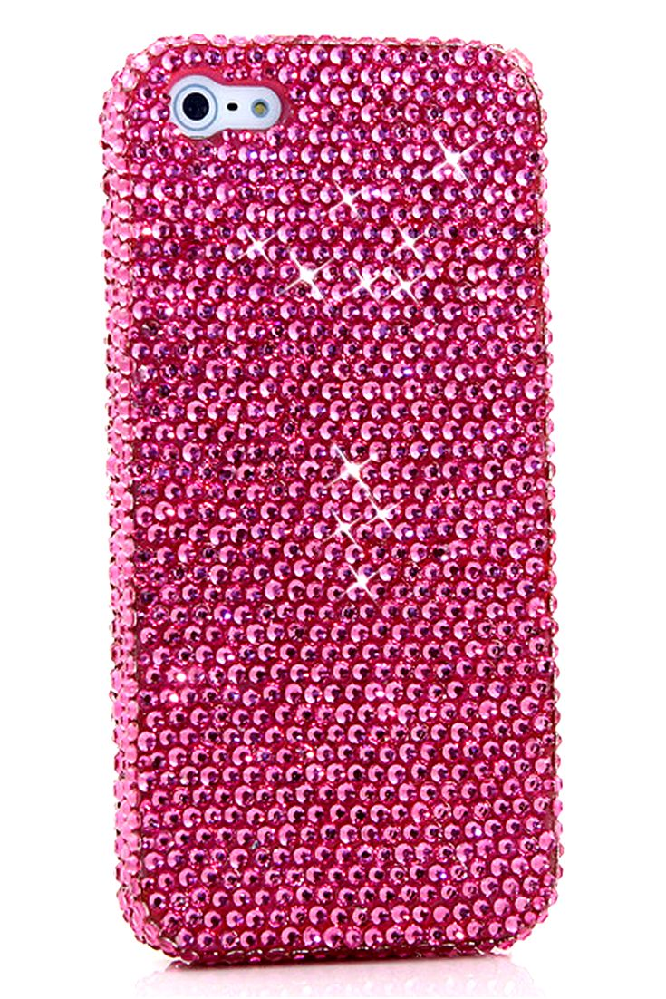 Simple HOT Pink Crystals Design | Pink iphone 5c cases bling glitter for girls. #BlingCases #iPhone5cCases #iPhone5c
