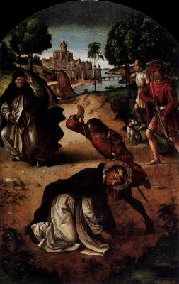 The Death of Saint Peter Martyr -- Pedro Berruguete (1450-1504) c. 1495 Oil on wood, 128 x 82 cm Museo del Prado, Madrid  The panting belongs to a series of nine panels commissioned by High Inquisitor Torquemada for the St Thomas Church in Avila. The painting shows Italian, mainly Florentine influence