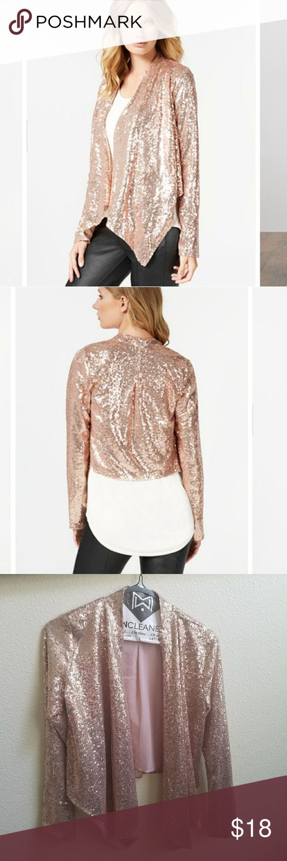 Rose Gold Sequin Blazer Sequin blazer  Drape open front  Full lining Very lightweight  Great statement piece to wear going out Pair with skinny jeans or even shorts  100% nylon  Perfect condition, only worn once for a few hours on a cruise Double Zero Jackets & Coats Blazers