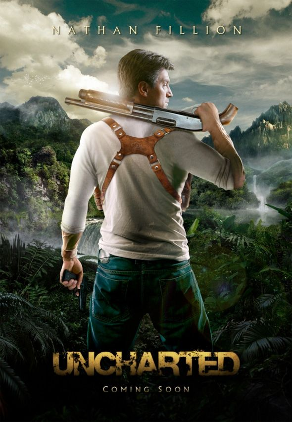 Fan Made Video Game Movie Posters - Uncharted: Teasers Posters, Movie Posters, Nathanfillion, Picture-Black Posters, Videos Games, Movies, Nathan Fillion, Video Games, Art Posters