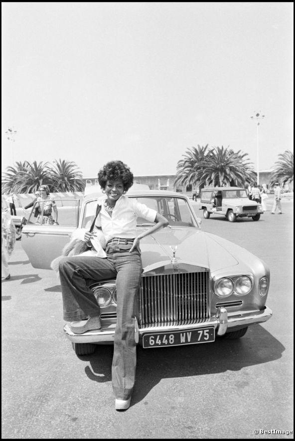 Diana Ross, en 1973, à Cannes sur La Croisette.