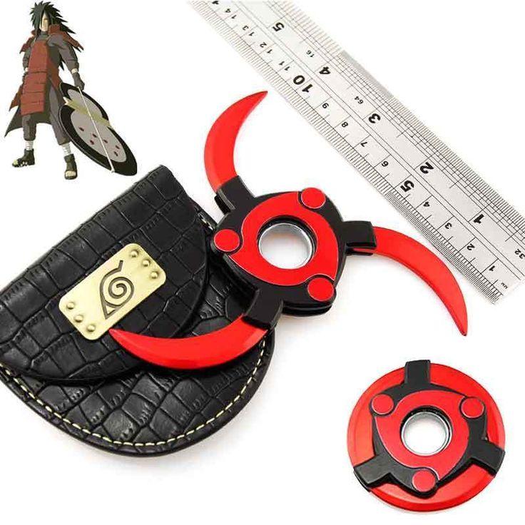 Anime NARUTO Uchiha Madara Sharingan Rotatable Shuriken Alloy Weapon Cosplay BAG