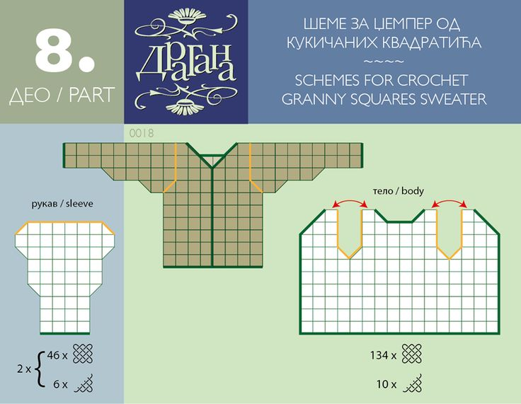 Crochet Square Motifs Diagrams. For a Jumper