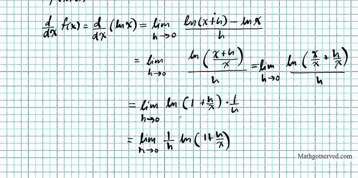 derivation of the derivative of ln x using limits d/dx(ln x)= 1/x proof rigorous Calculus AB BC For more cool math videos visit my site at mathgotserved.com or http://youtube.com/mathsgotserved In this clip we use the limits definition of derivatives to show that the derivative of the natural logarithm of x is 1/x. some key formulas we used includes the properties of logarithms and the limit definition of derivatives. The student will define and apply the properties of limits of functions…