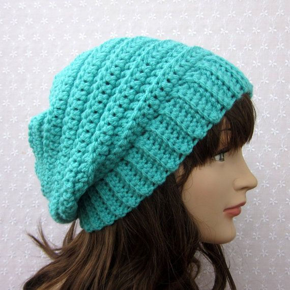 Turquoise Slouchy Crochet Hat  Womens by ColorMyWorldCrochet