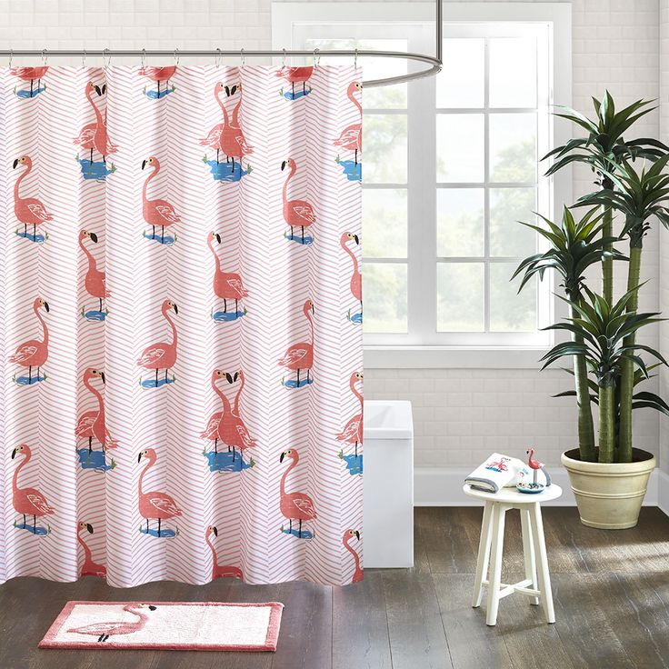 The HipStyle Pinky shower curtain adds color and fun to your space with its printed chevron and flamingos in bold pink on a textured cotton fabric.