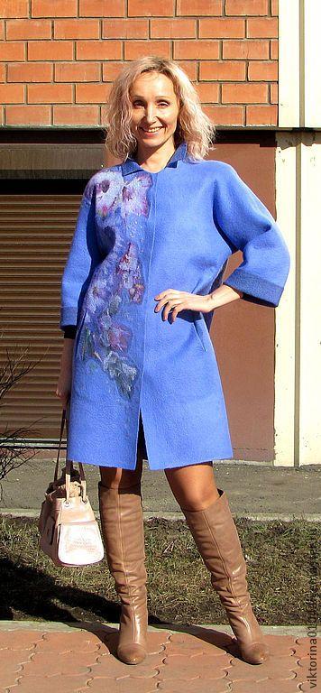 """Пальто летнее """"Голубая мечта"""" - васильковый,цветочный,пальто валяное,летнее пальто"""