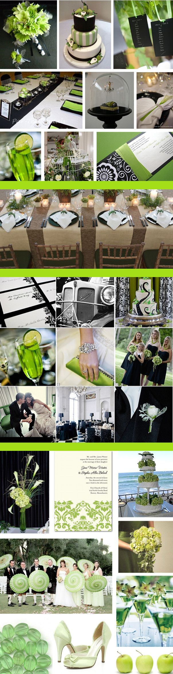 Black-White-Green Wedding Colors