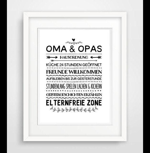 Wanddeko - Oma & Opa Hausordnung - Famile, poster, druck - ein Designerstück von World-of-Words bei DaWanda
