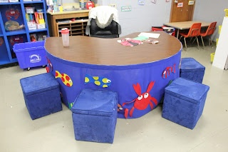 K-1 Teaching Besties: Katie's Kindergarten Classroom - Ocean theme - I love the guided reading table