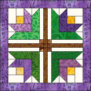Spring Crocus Quilt Block Pattern. Azpatch.com BOM March 2006 Quilt. Also called Log Cabin tulip block.