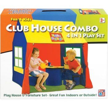 Free Time 4 Kidz Club House Combo 4 in 1 Play Set - Includes 2 Inflatable stools, Table & Playhouse Approx H X 112 L X125 W X 85 cms