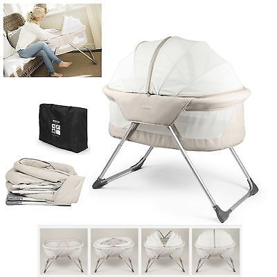 NEW INOVI BEIGE COCOON CRIB/BASSINET/COMPACT TRAVEL COT & MESH CANOPY FROM BIRTH