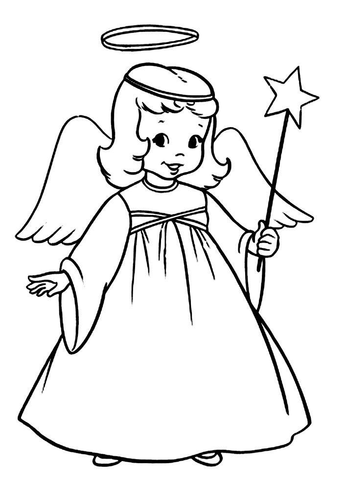 Картинка ангелочка раскраска