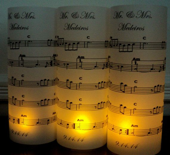 Wedding Table Numbers Candles Luminaries Music Lovers Sheet Music Musical Notes Sharps Flats Black White Keys Piano Reception Venue Tables