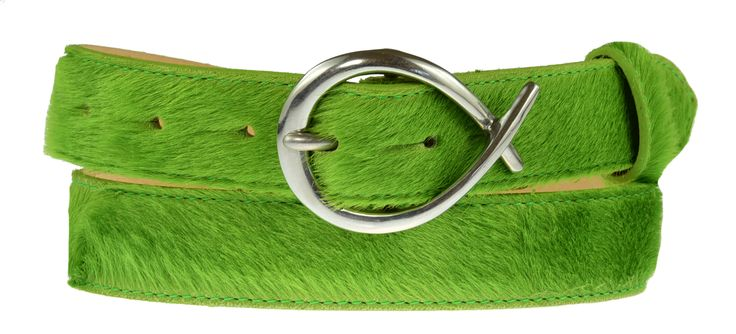 30mm electric green cowhide belt £70 with detachable silver twist buckle £25.
