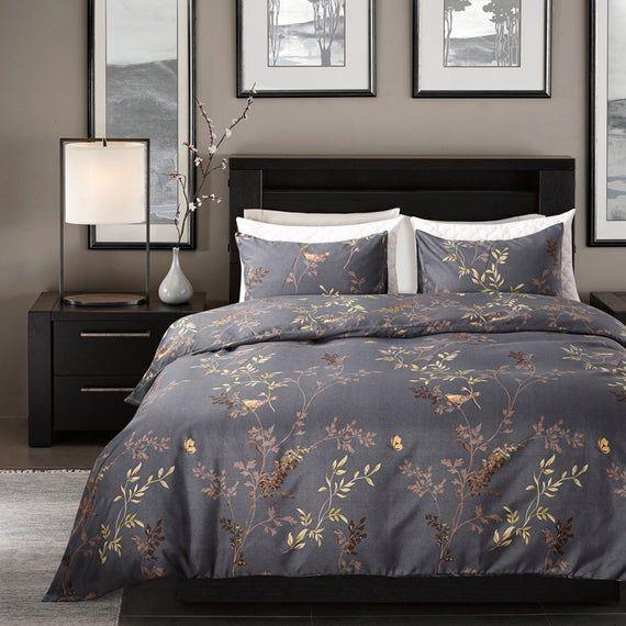 Senior Dark Gray Duvet Cover Gold Leaves Quilt Cover Etsy Duvet Cover Sets Bedding Sets Duvet Bedding Sets