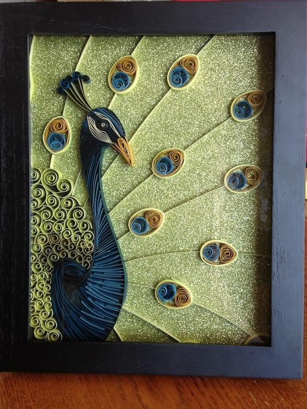 Quilled peacock illustration missmegaroo