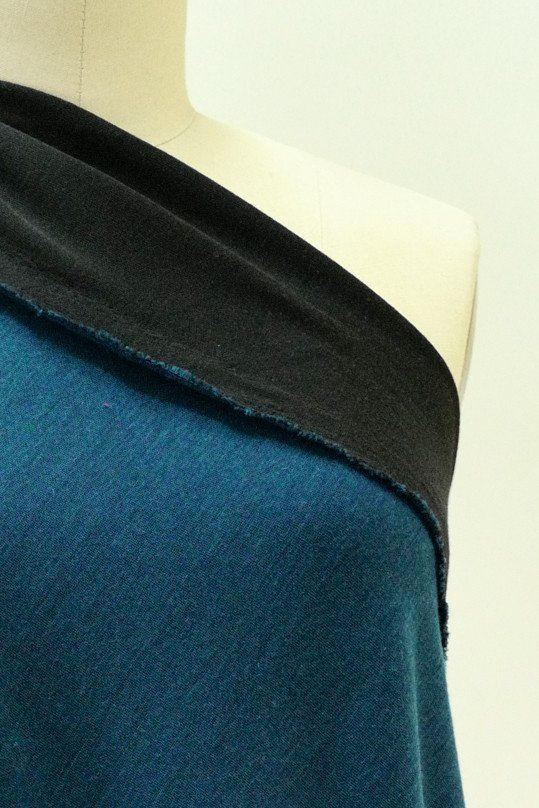 Blue Teal and Black Double Sided Merino Wool Jersey Knit