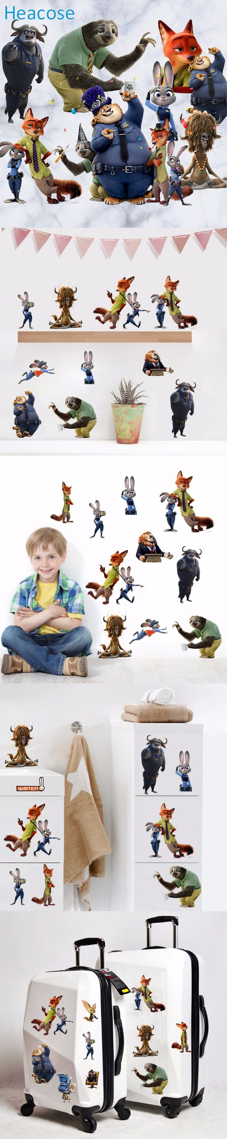 Newest 3D Zootopia Crazy Animals city Wall Stickers Cute Cartoon Wall Decals Mural Art Home Decor Sticker for kids bedroom $5.25