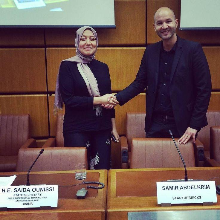 Très belle rencontre et excellents échanges cet après midi aux Nations Unies avec SE Saïda Ounissi la très inspirante Secrétaire d État pour la formation professionnelle et l'entrepreneuriat de Tunisie !
