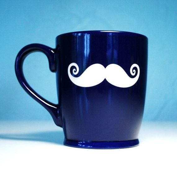 Mustache Mug - Navy Blue - large ceramic coffee cup, $20 ...