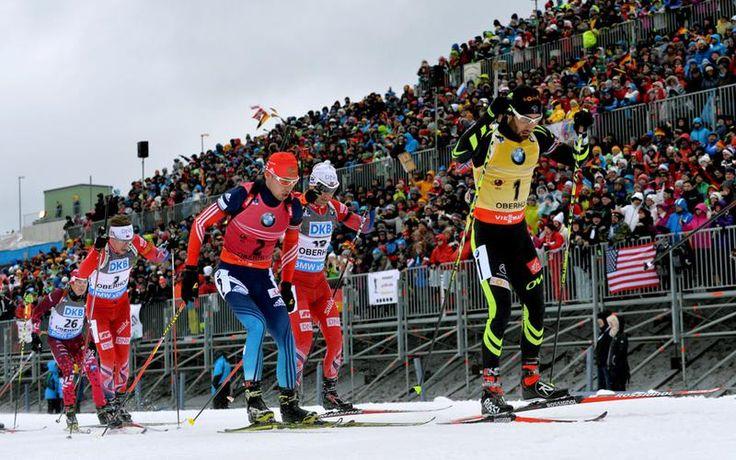 Men's Mass Start in Oberhof 2015. Fourcade, Shipulin, Svendsen, Bjørndalen and Rastorgujev.