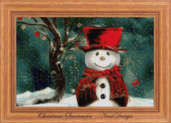 Christmas Snowman  cross stitch pattern  PDF pattern by NeniDesign