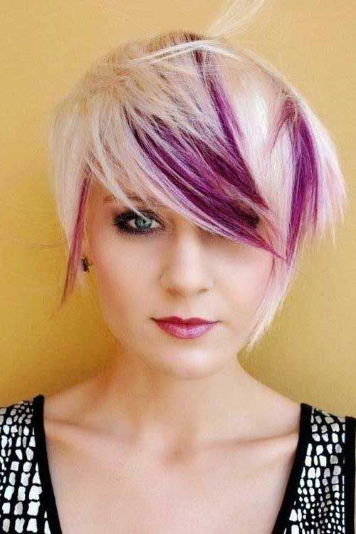 Funky Short Hair with Purple Lights