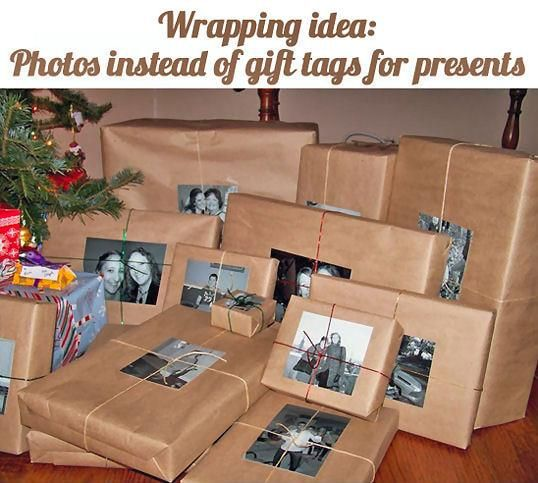 Christmas wrapping ideas. Like the idea of using photos instead of gift tags!