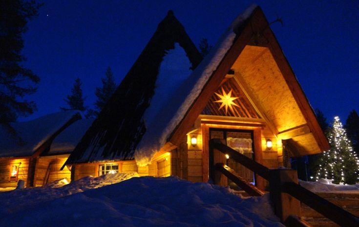 Lapland style Restant Kotahovi in Rovaniemi in FInland in evening
