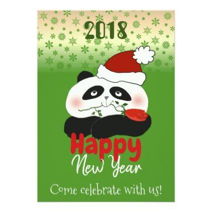 Panda Happy New Year Kids Party Cartoon Cute Funny Card - New Year's Eve happy new year designs party celebration Saint Sylvester's Day