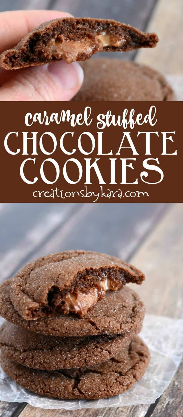 Soft and chewy chocolate Rolo cookies with an ooey gooey caramel filling. A perfect cookie recipe for chocolate caramel fans! via @creationsbykara.com